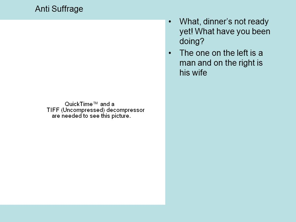 Anti Suffrage What, dinner's not ready yet. What have you been doing.