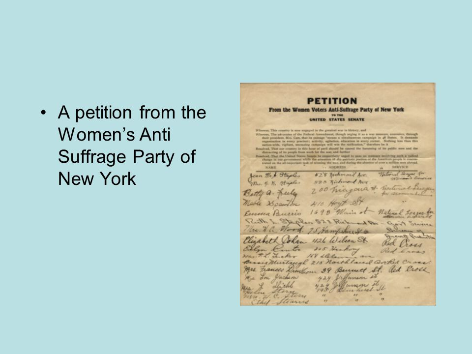 A petition from the Women's Anti Suffrage Party of New York