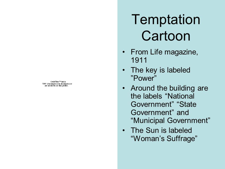 Temptation Cartoon From Life magazine, 1911 The key is labeled Power