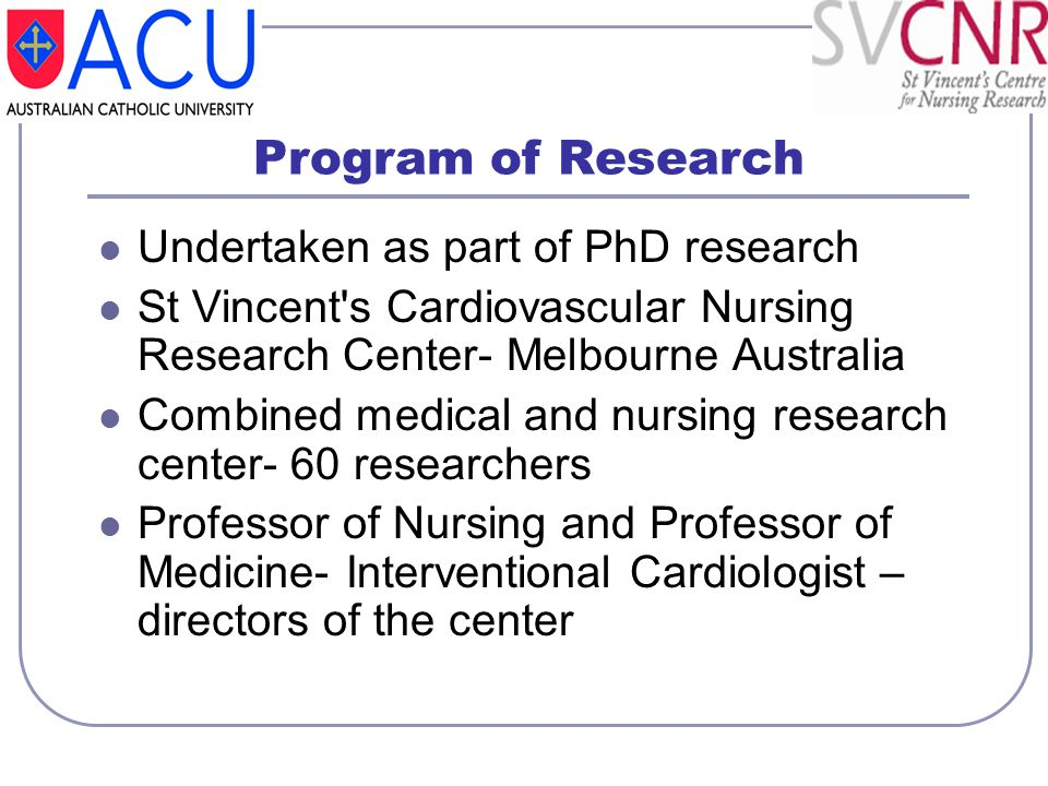 Program of Research Undertaken as part of PhD research