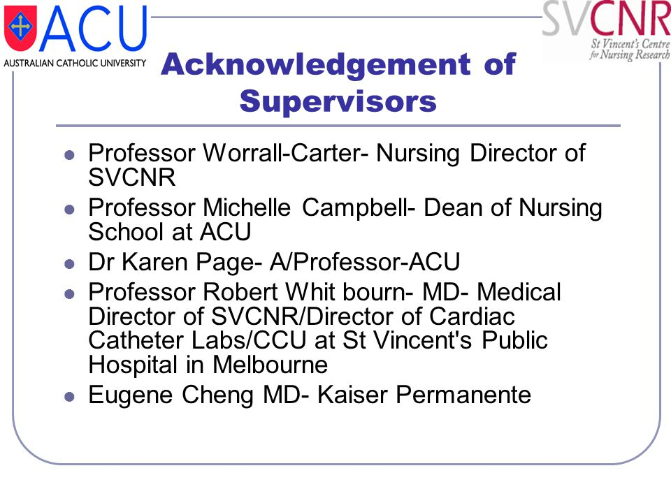 Acknowledgement of Supervisors