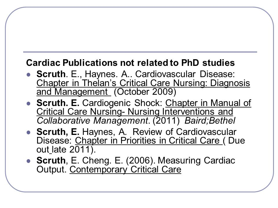 Cardiac Publications not related to PhD studies