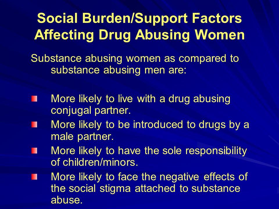 Social Burden/Support Factors Affecting Drug Abusing Women