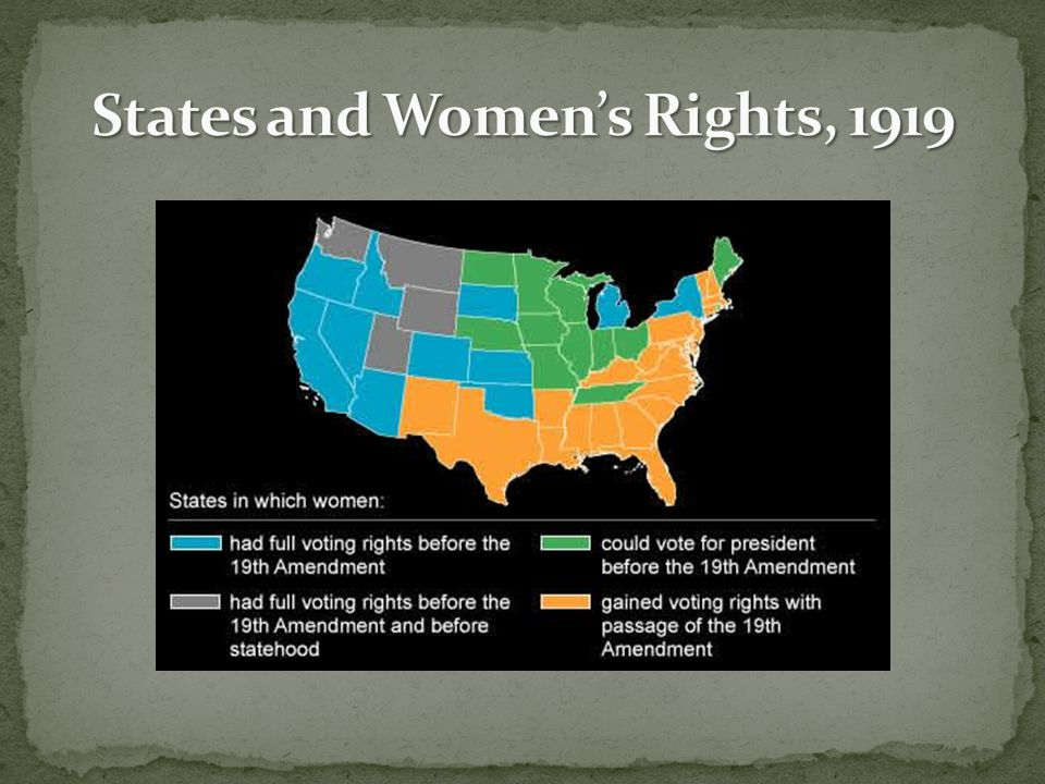 States and Women's Rights, 1919