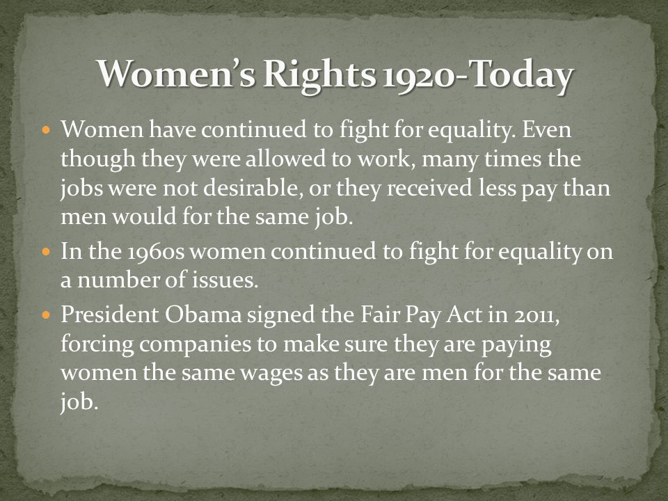 Women's Rights 1920-Today