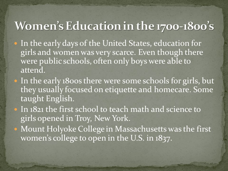 Women's Education in the 1700-1800's