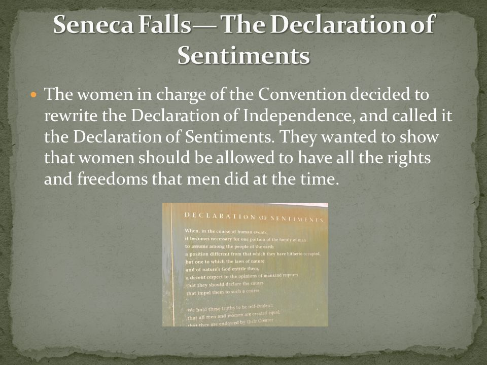 Seneca Falls— The Declaration of Sentiments