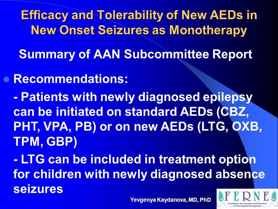 Summary of AAN Subcommittee Report