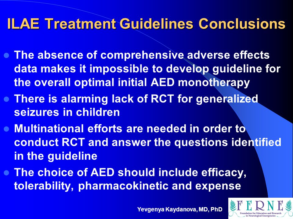 ILAE Treatment Guidelines Conclusions