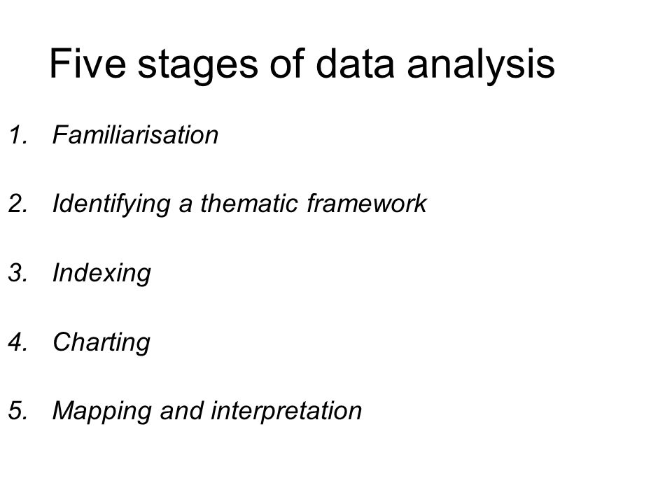 Five stages of data analysis
