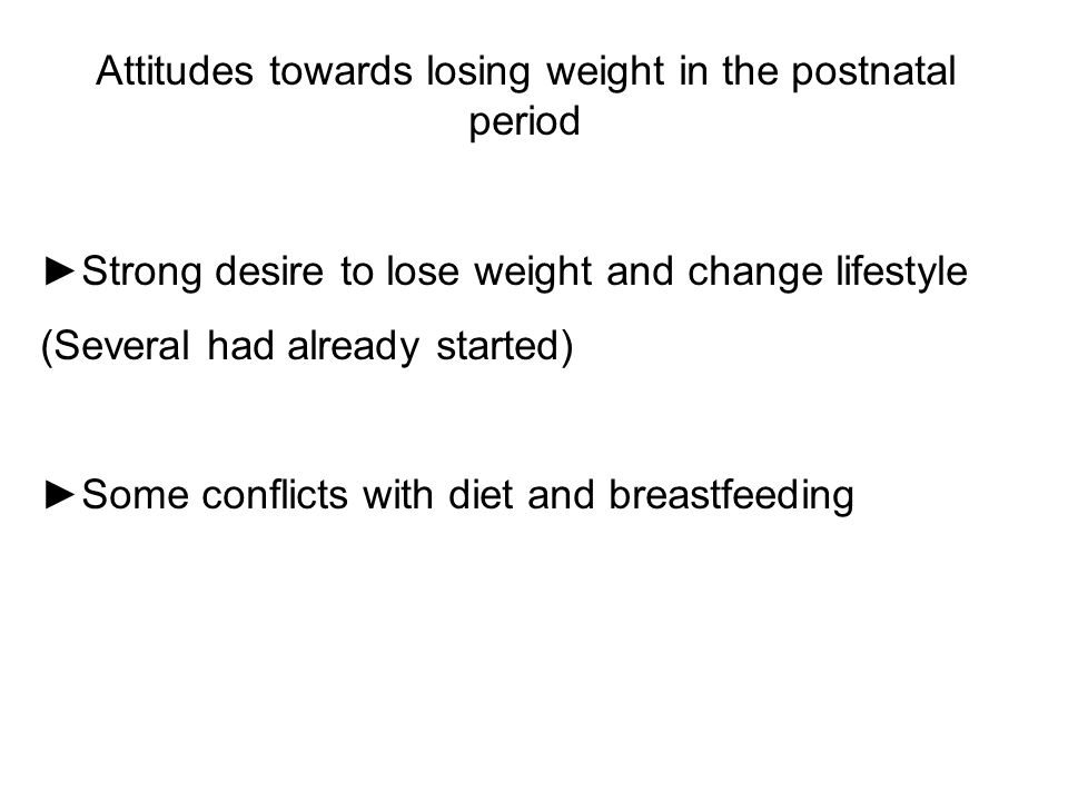 Attitudes towards losing weight in the postnatal period