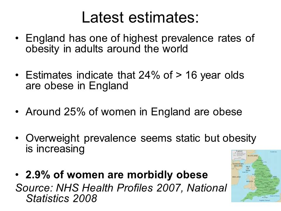 Latest estimates: England has one of highest prevalence rates of obesity in adults around the world.
