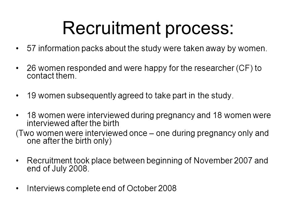 Recruitment process: 57 information packs about the study were taken away by women.