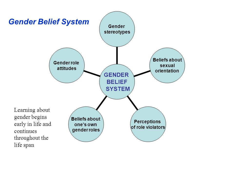 Gender Belief System Learning about gender begins early in life and continues throughout the life span.