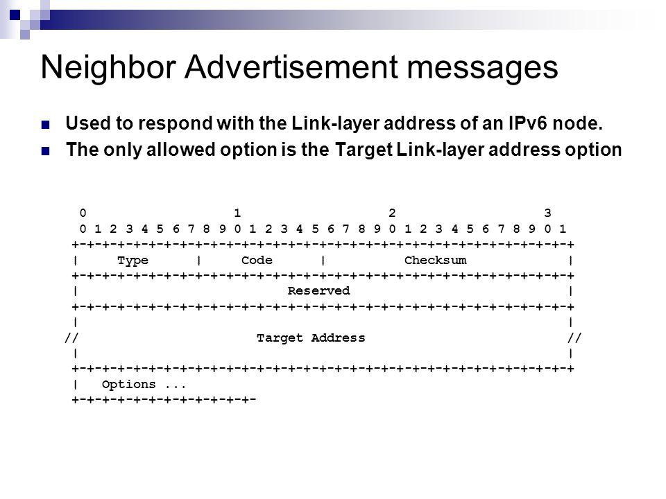 Neighbor Advertisement messages