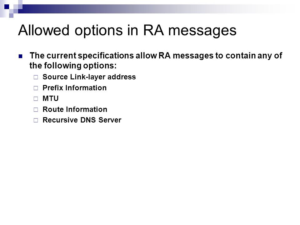 Allowed options in RA messages