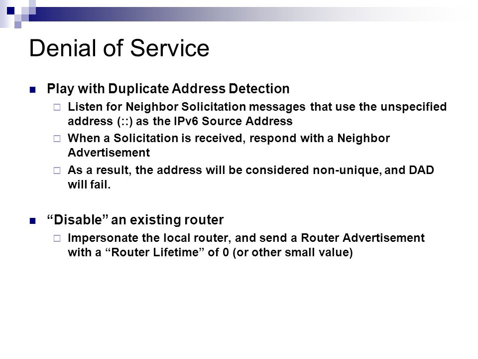 Denial of Service Play with Duplicate Address Detection