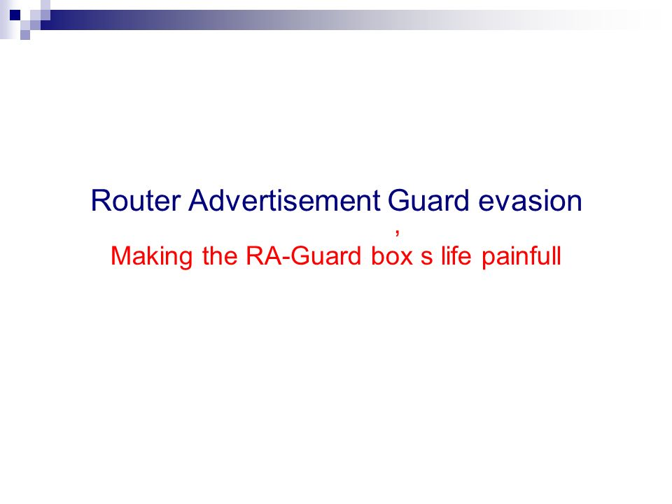 Router Advertisement Guard evasion