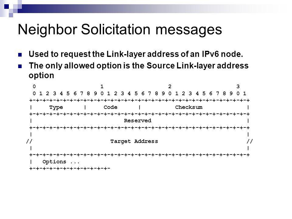 Neighbor Solicitation messages