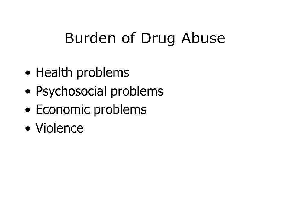 Burden of Drug Abuse Health problems Psychosocial problems