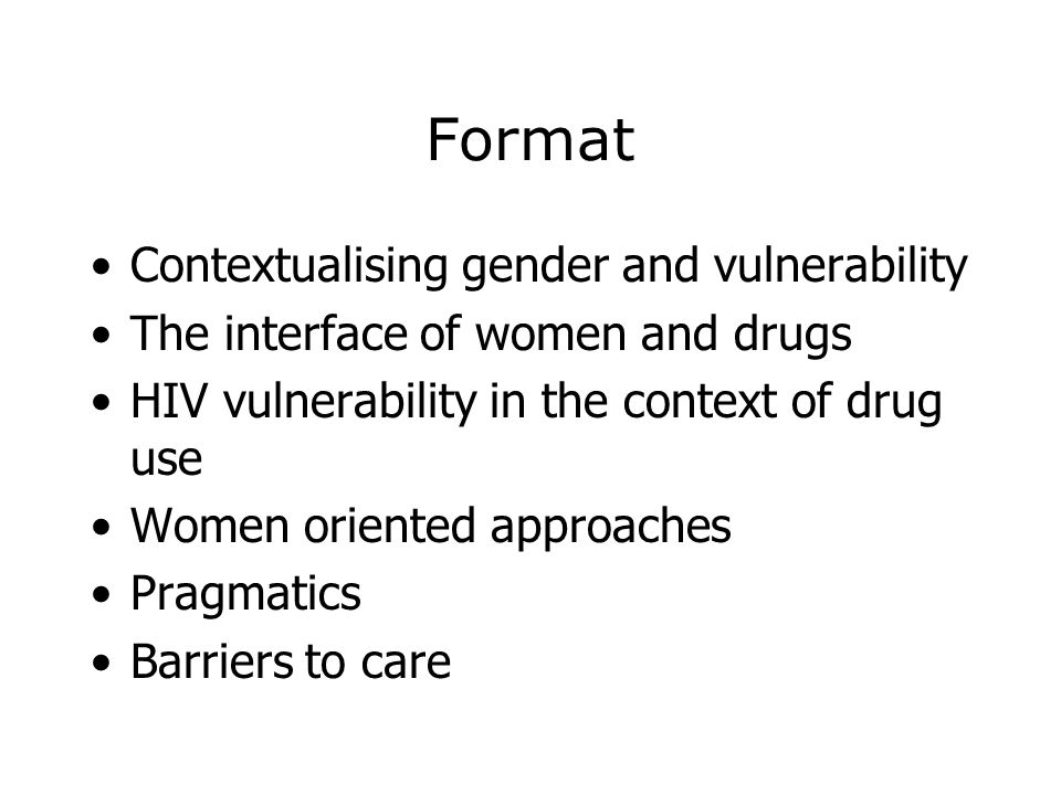 Format Contextualising gender and vulnerability