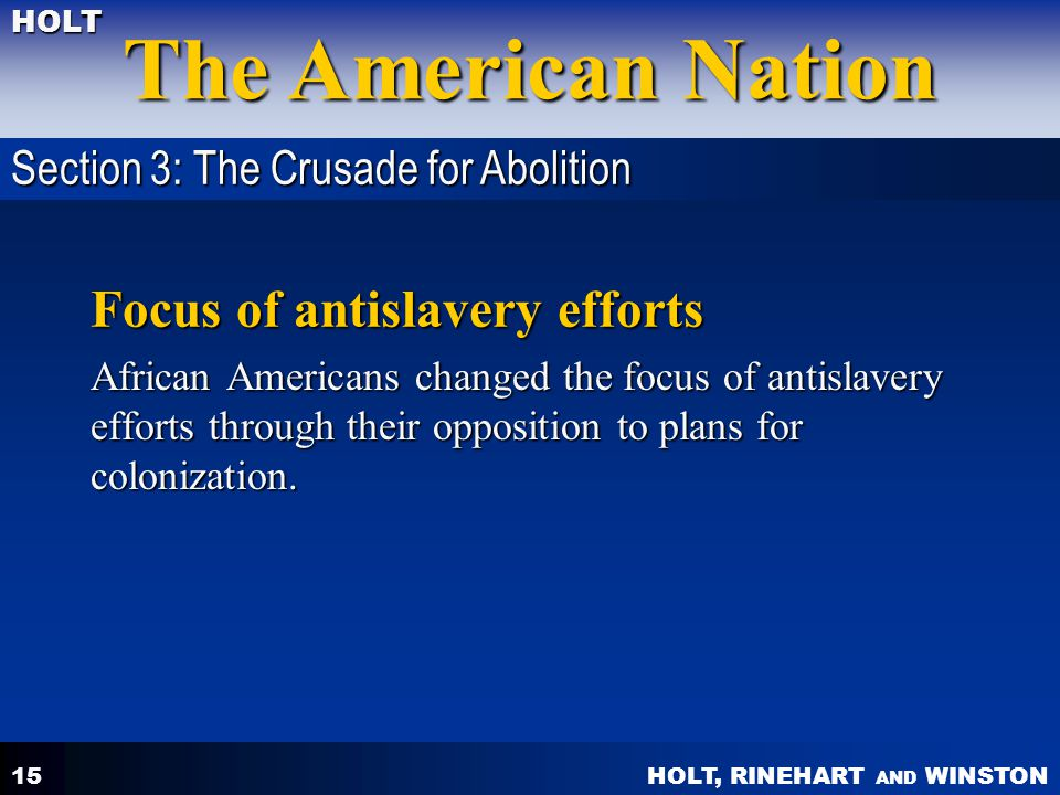 Focus of antislavery efforts