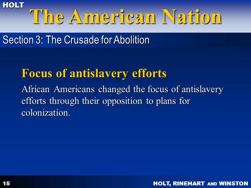 Focus of antislavery efforts
