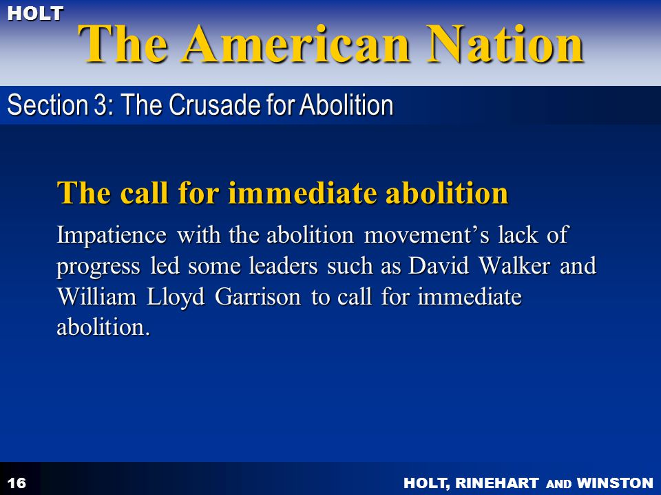 The call for immediate abolition