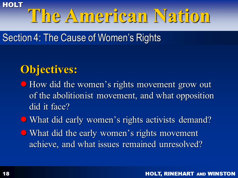 Objectives: Section 4: The Cause of Women's Rights