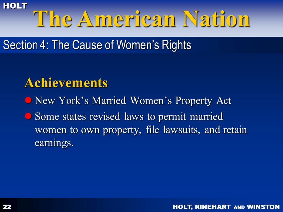 Achievements Section 4: The Cause of Women's Rights