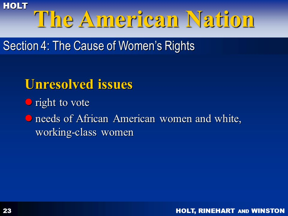 Unresolved issues Section 4: The Cause of Women's Rights right to vote