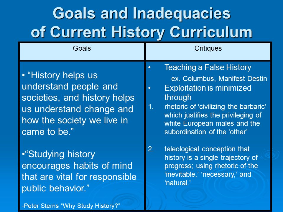 Goals and Inadequacies of Current History Curriculum