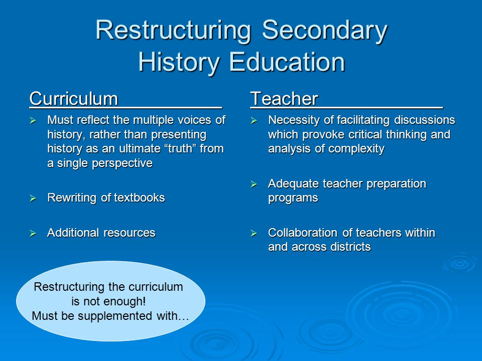 Restructuring Secondary History Education