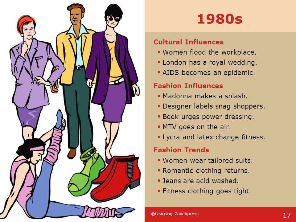 1980s Cultural Influences Women flood the workplace.