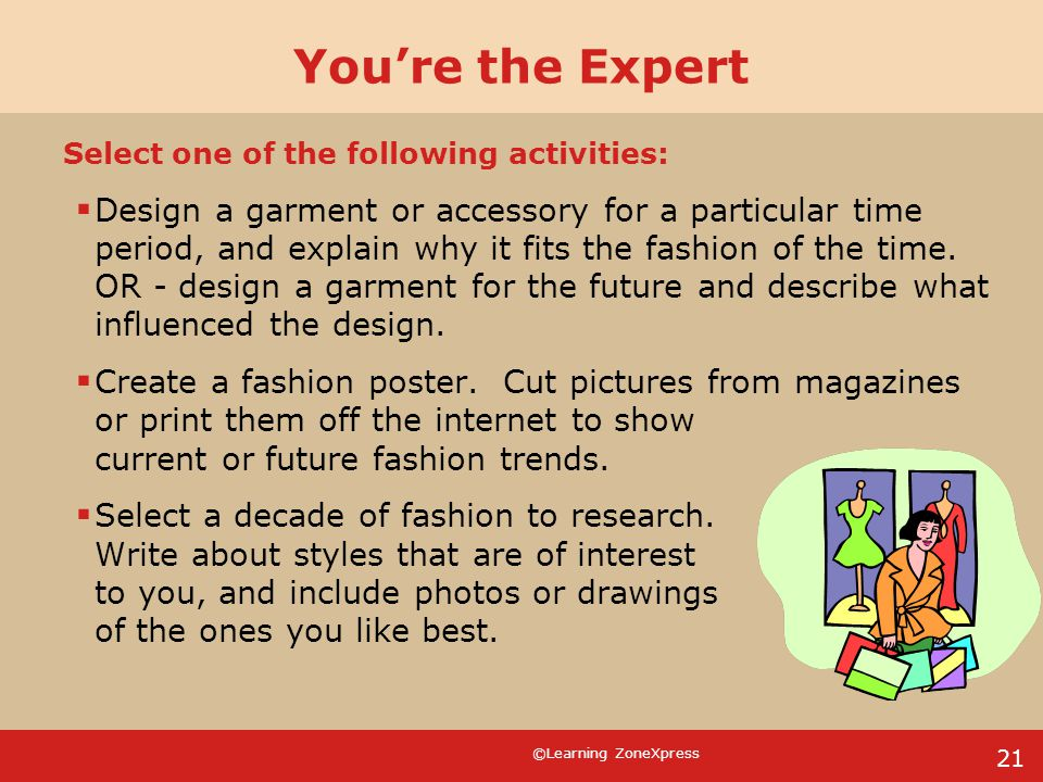 You're the Expert Select one of the following activities: