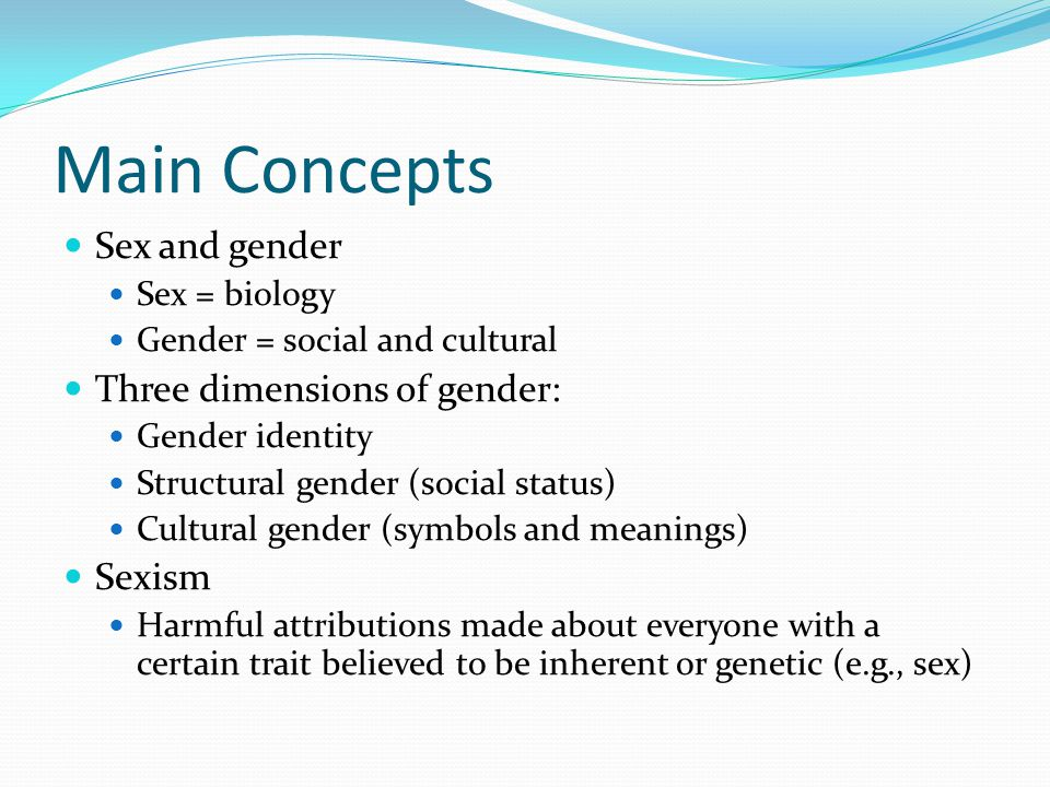 Main Concepts Sex and gender Three dimensions of gender: Sexism