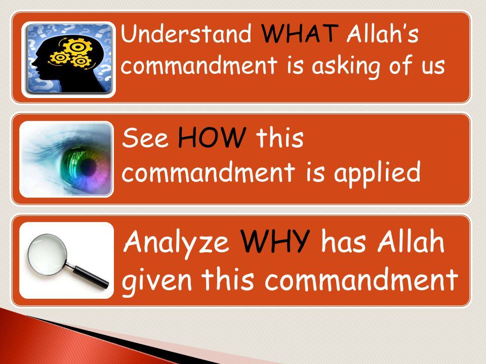 Analyze WHY has Allah given this commandment