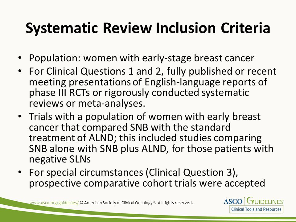 Systematic Review Inclusion Criteria