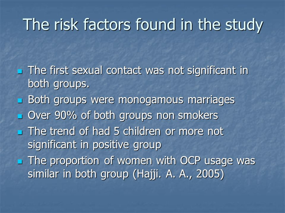 The risk factors found in the study