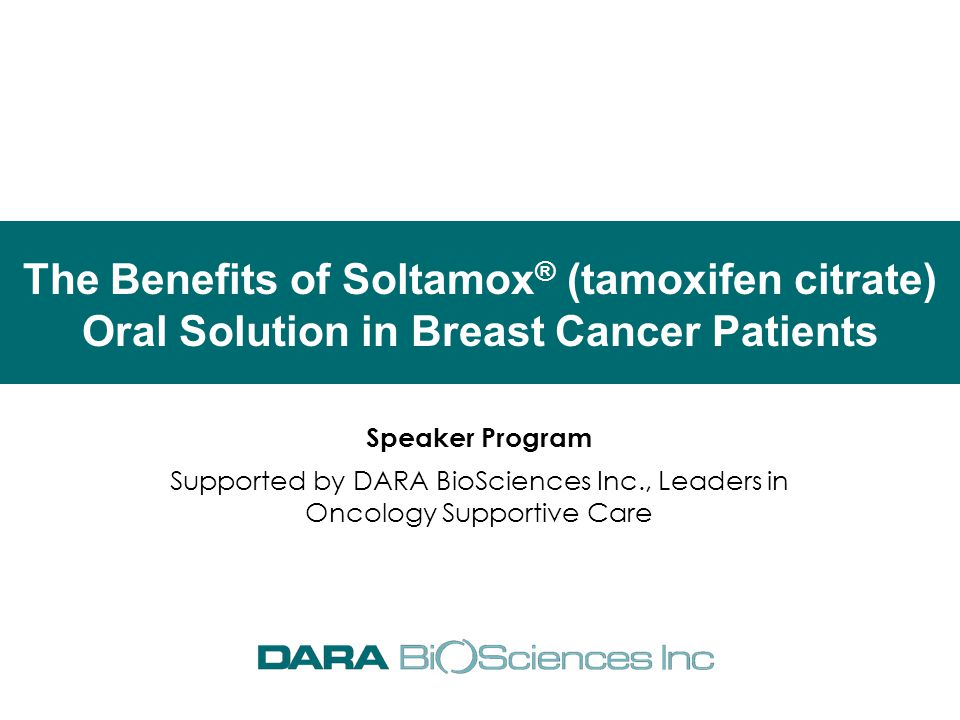 The Benefits of Soltamox® (tamoxifen citrate) Oral Solution in Breast Cancer Patients