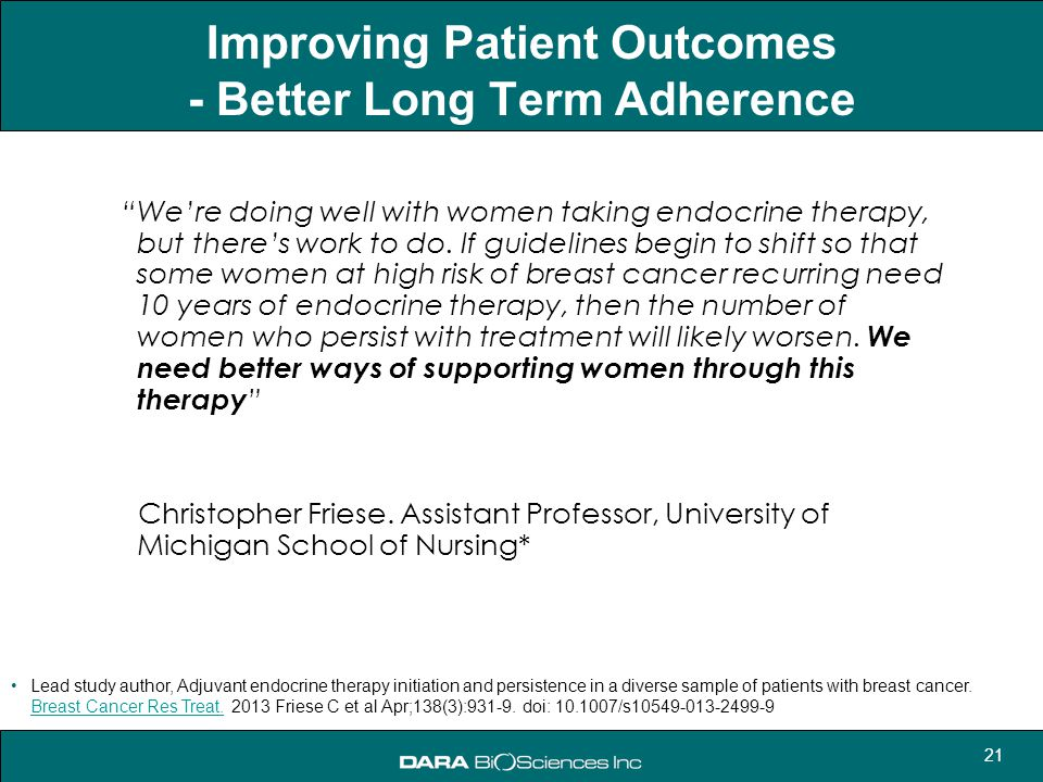 Improving Patient Outcomes - Better Long Term Adherence