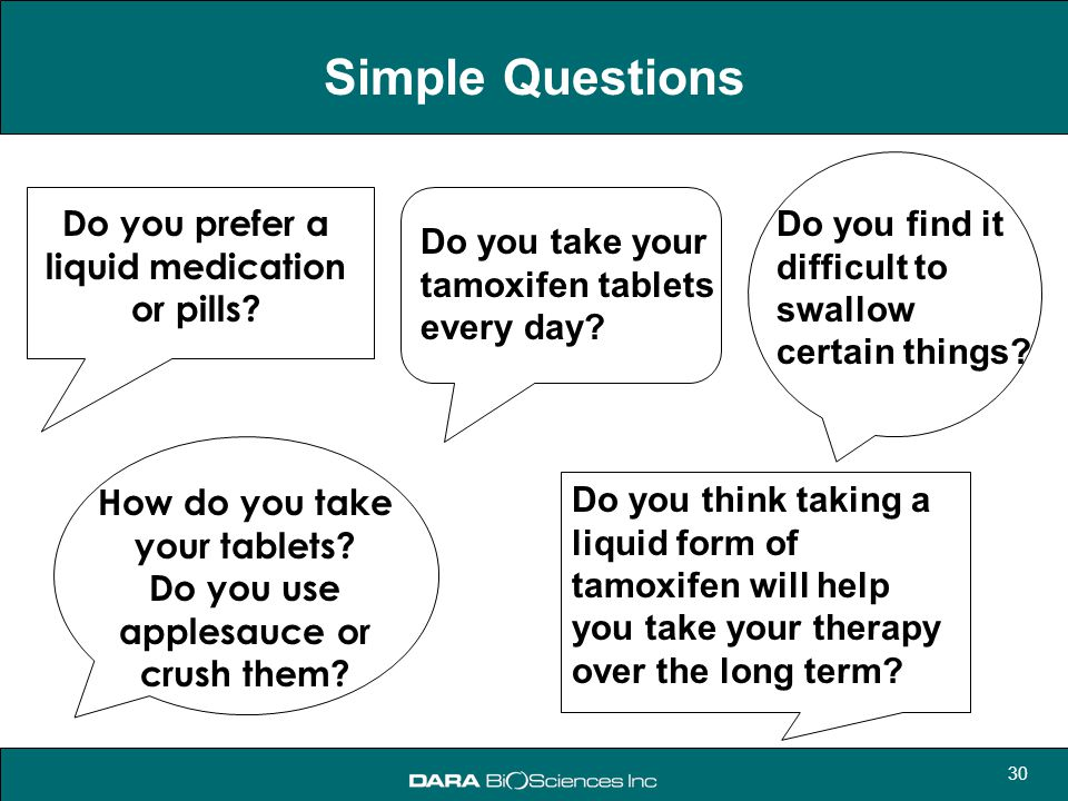 Simple Questions Do you prefer a liquid medication or pills