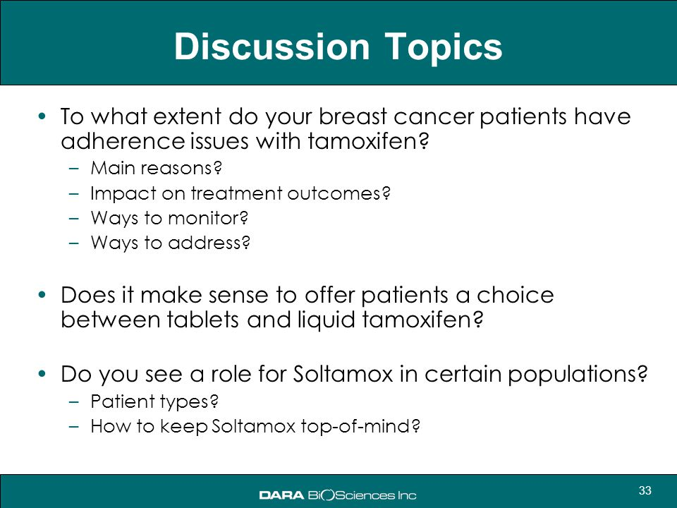 Discussion Topics To what extent do your breast cancer patients have adherence issues with tamoxifen