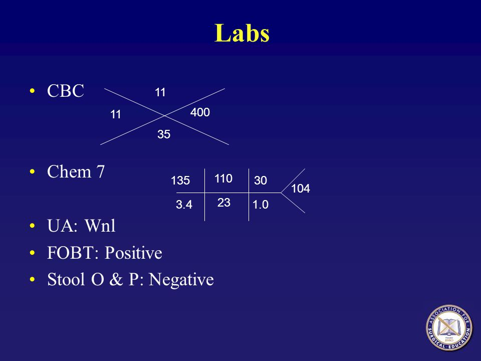 Labs CBC Chem 7 UA: Wnl FOBT: Positive Stool O & P: Negative 11 11 400