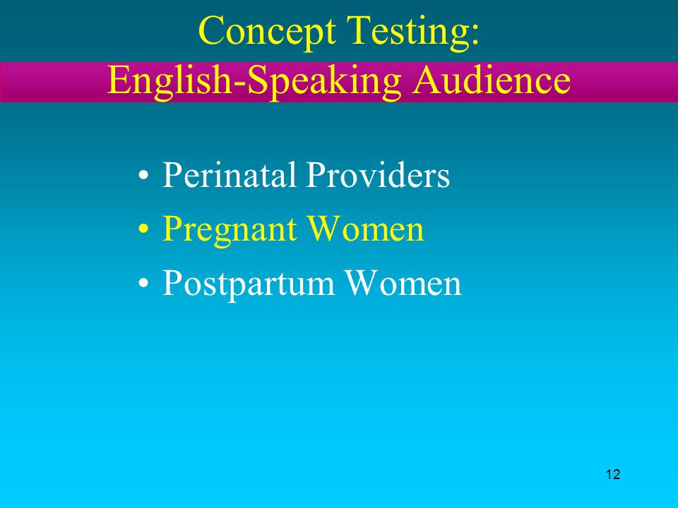 Concept Testing: English-Speaking Audience