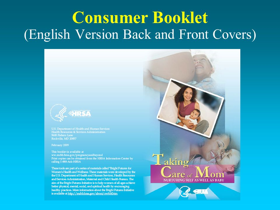 Consumer Booklet (English Version Back and Front Covers)