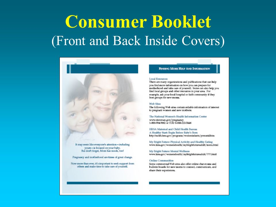 Consumer Booklet (Front and Back Inside Covers)