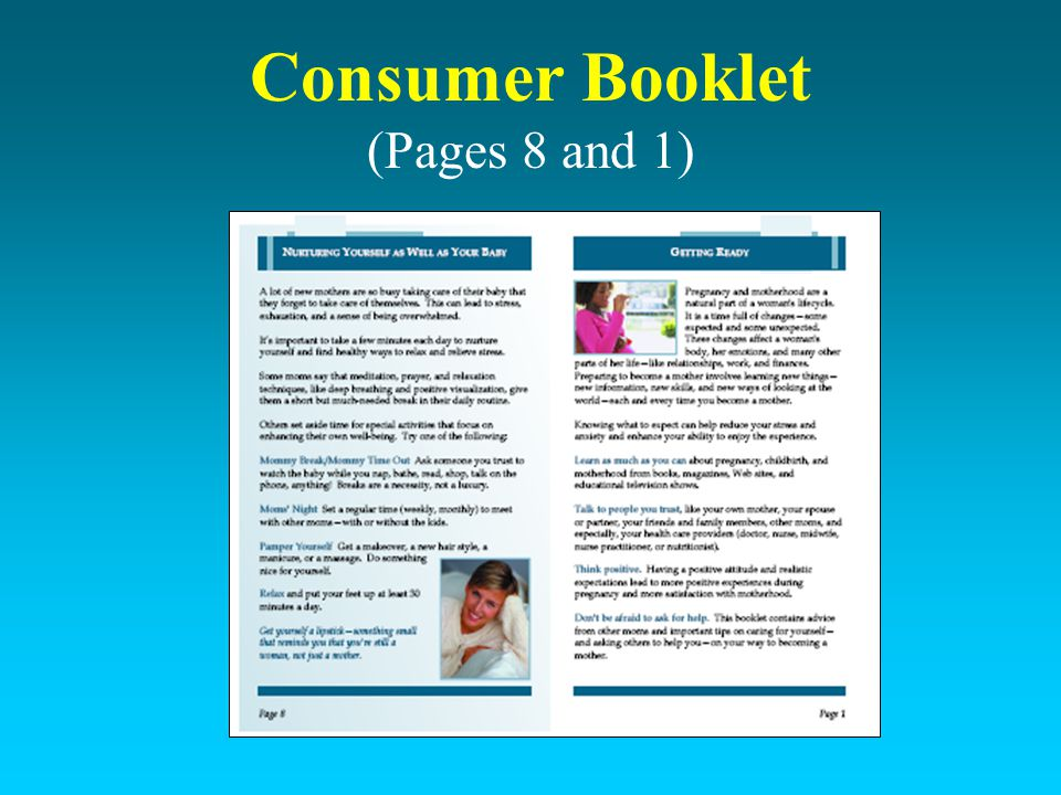 Consumer Booklet (Pages 8 and 1)