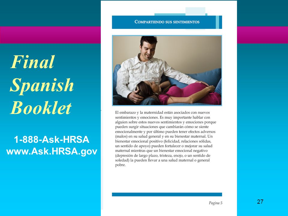 Final Spanish Booklet 1-888-Ask-HRSA www.Ask.HRSA.gov