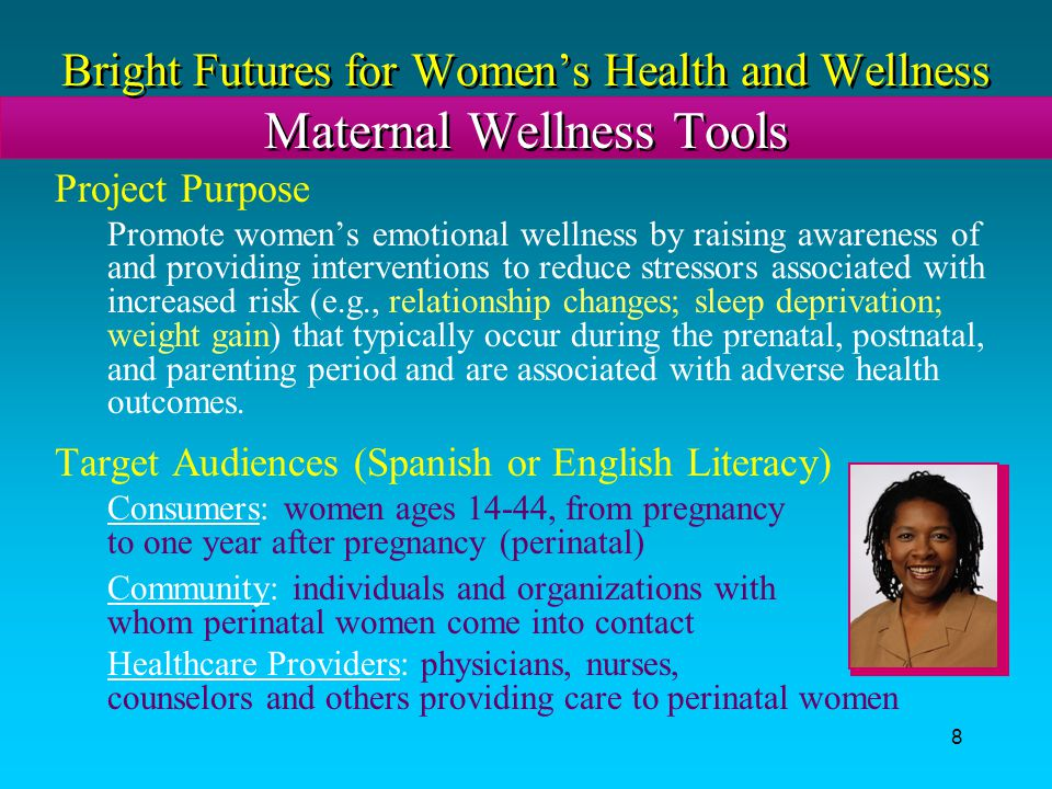 Bright Futures for Women's Health and Wellness Maternal Wellness Tools